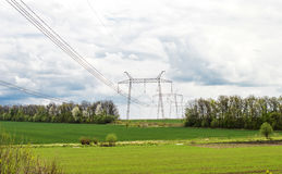 Power transmission lines Royalty Free Stock Photos