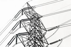 Power transmission lines stock photo
