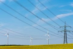Power transmission lines in a field of flowering oilseed. Seen in rural Germany royalty free stock photography