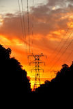 Power transmission lines at sunset Royalty Free Stock Photo