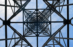 Power transmission pole. Power transmission tower, view from below Stock Photo