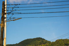 Power transmission pole on the background of a mountain landscap Royalty Free Stock Photography