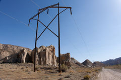Power Transmission Pole on the Cottonwood Road Stock Photo