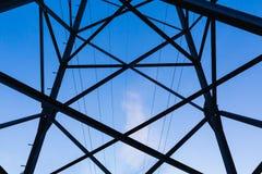 Power transmission pylon against blue sky stock photography