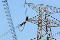 Power transmission tower. With clear blue sky stock images