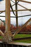 Power transmission tower. Urban power transmission tower in the autumn stock images
