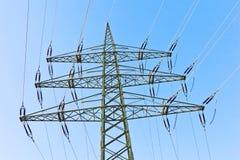 Power transmission tower. Under blue sky stock image