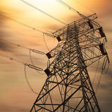 Power transmission tower. At night Royalty Free Stock Photo
