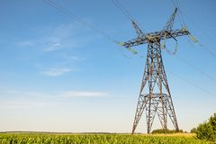 Free Power Transmission Tower. Air Hi-voltage Electric Line Supports. Royalty Free Stock Photo - 164491805
