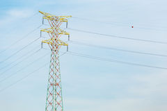 Power transmission tower. With blue sky stock images