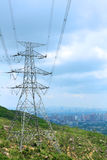 Power transmission tower with cables Royalty Free Stock Images