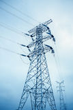 Power transmission tower. Closeup in a cloudy sky royalty free stock photos