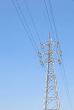 Power transmission tower. Industrial photo of power transmission tower and nice blue sky stock photos