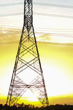 Power transmission tower. Line of electricity distribution stock photo