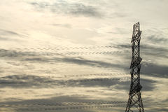 Power transmission tower. Line of electricity distribution royalty free stock images