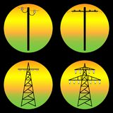 Power-transmission-tower. Silhouettes of different supports for high-voltage lines Stock Photo