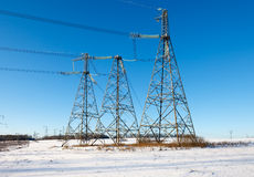 Power transmission tower on sky. Background stock photo