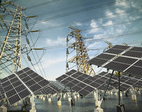 Power transmission tower and Solar panel in the green Stock Photography