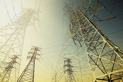 Power transmission tower. The power transmission towers of sky background stock photos