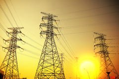 Power transmission tower. The power transmission towers of sky background stock photography