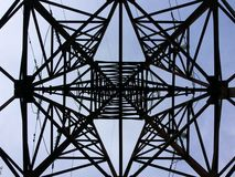 Power transmission tower - view from below. High voltage power transmission tower - view from below Stock Photos