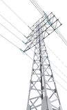 Power transmission tower on white Royalty Free Stock Photo