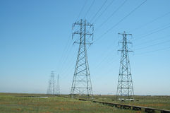 Power transmission towers. Baylands Nature Preserve, Palo Alto, California Stock Images