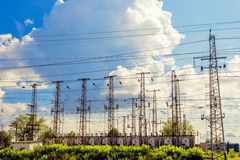 Power transmission towers Royalty Free Stock Photos