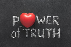 Power of truth heart. Power of truth phrase handwritten on blackboard with heart symbol instead of O royalty free stock images
