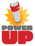 Power up sign with battery energy burst. Cartoon illustration of battery energy burst over power up sign stock illustration