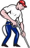 Power Washing Pressure Water Blaster Worker. Illustration of a worker with water blaster pressure power washing sprayer spraying set inside circle done in Stock Photos