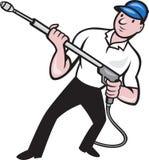 Power Washing Pressure Water Blaster Worker Royalty Free Stock Photos