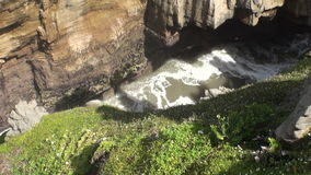 Power water in canyon on a rocky coast and mountains New Zealand. stock footage
