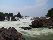 Power of water. Khon Pra Pheng waterfalls the Niagara of Asia Stock Photos