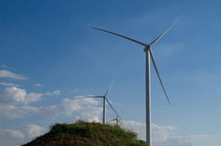 Power of wind turbine generating electricity Royalty Free Stock Photography