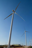 Power of wind turbine generating electricity Stock Photos