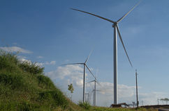 Power of wind turbine generating electricity Royalty Free Stock Photo