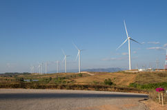 Power of wind turbine generating electricity Stock Photography