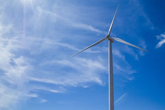 Power of wind turbine generating electricity clean energy with c Royalty Free Stock Photos