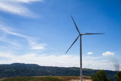 Power of wind turbine generating electricity clean energy with c Stock Photo