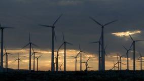 Power Windmills in the California Desert at Sunset. Windmills in Palm Springs California stock footage