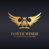 Power wings. Royal lion shield logo Stock Photo