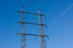 Power wire with blue sky Stock Image