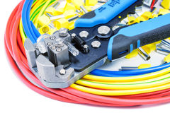 Power wires with cable stripper and cord end terminals on a white background Stock Images