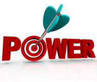 Power Word Arrow Hitting Strength Target Bulls-Eye. An arrow makes a direct hit in the bulls-eye target in the word Power, symbolizing the strength and force of Royalty Free Stock Photos