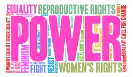 Power Word Cloud. Power Womens Rights word cloud on a white background Stock Images
