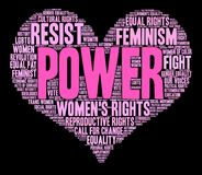 Power Word Cloud. Power Women`s Rights word cloud on a black background Stock Photography