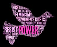 Power Word Cloud. Power Women`s Rights word cloud on a white background Stock Images