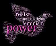 Power Word Cloud. Power Womens Rights word cloud on a black background Royalty Free Stock Photography