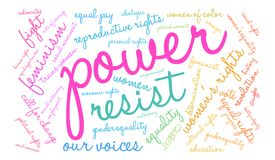 Power Word Cloud. Power Womens Rights word cloud on a white background Stock Image